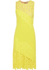 Alice + Olivia Woman Margy Neon Guipure Lace-paneled Ponte Dress Yellow