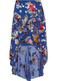 Alice + Olivia Woman Mariel Asymmetric Floral-print Burnout Chiffon Skirt Cobalt Blue