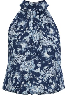 Alice + Olivia Woman Maris Bow-detailed Printed Crepe De Chine Top Storm Blue