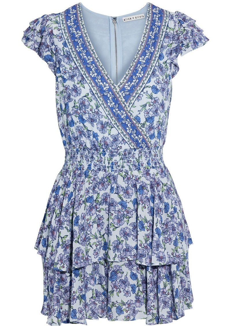 Alice + Olivia Woman Marisk Ruffled Floral-print Voile Playsuit Sky Blue