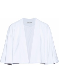 Alice + Olivia Woman Marjory Cropped Pleated Crepe Jacket White
