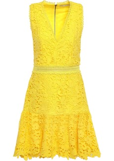 Alice + Olivia Woman Marleen Flared Guipure Lace Mini Dress Yellow