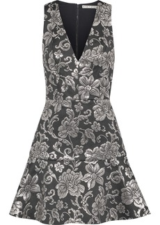 Alice + Olivia Woman Marleen Fluted Metallic Brocade Mini Dress Black