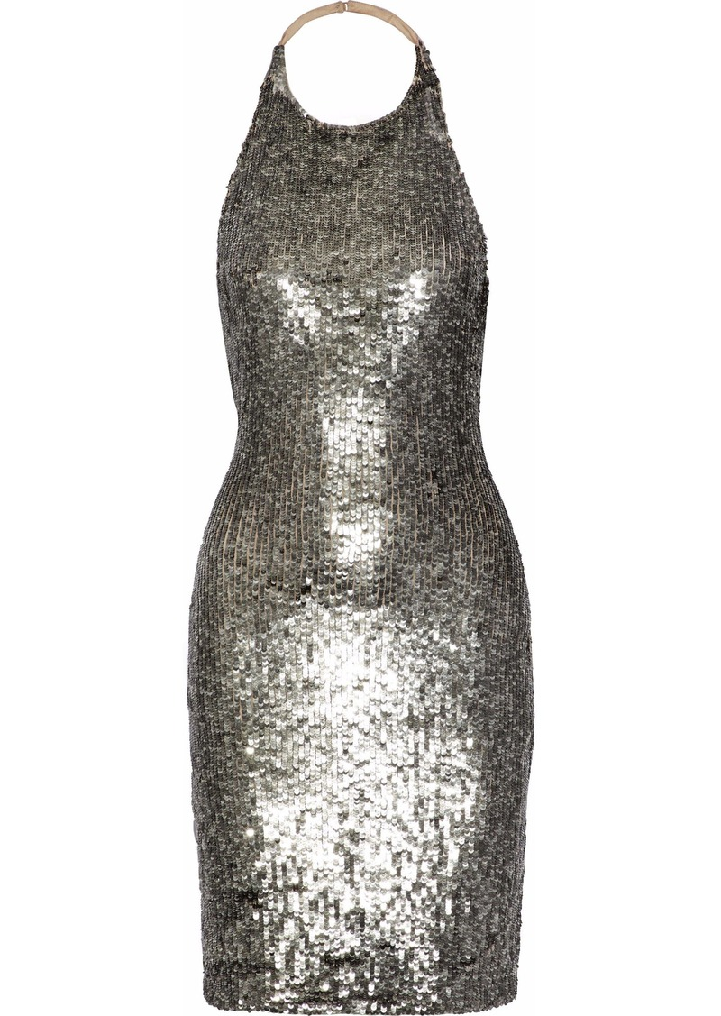 Alice + Olivia Woman Marnie Sequined Mesh Halterneck Mini Dress Silver