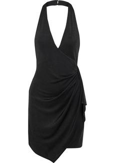 Alice + Olivia Woman Marx Wrap-effect Stretch-jersey Halterneck Mini Dress Black