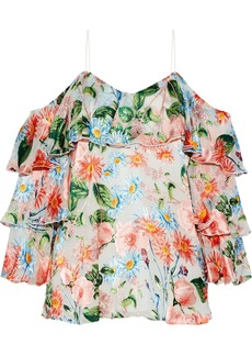 Alice + Olivia Woman Marylee Cold-shoulder Floral-print Fil Coupé Top Multicolor