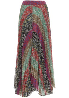 Alice + Olivia Woman Patchwork-effect Pleated Floral-print Crepon Maxi Skirt Multicolor