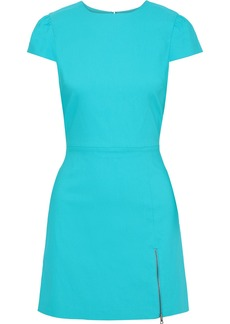 Alice + Olivia Woman Maya Zip-detailed Twill Mini Dress Turquoise