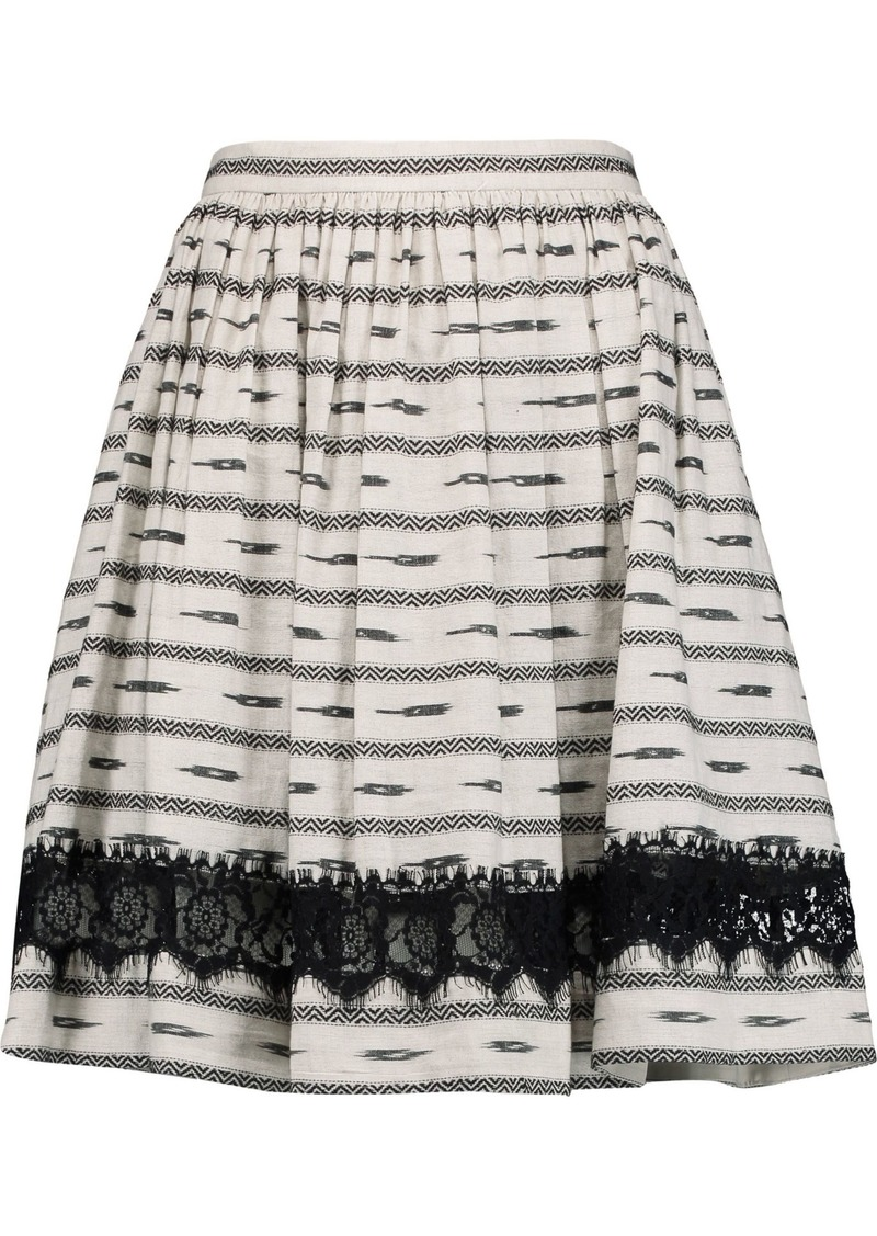 Alice + Olivia Woman Mazie Lace-trimmed Cotton And Linen-blend Skirt Ecru
