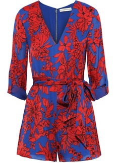 Alice + Olivia Woman Melia Belted Floral-print Crepe De Chine Playsuit Blue