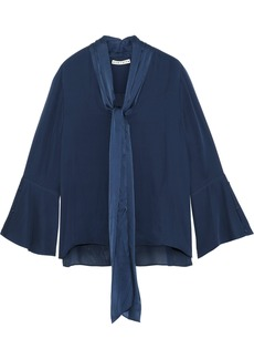Alice + Olivia Woman Meredith Tie-neck Satin-trimmed Silk Blouse Navy