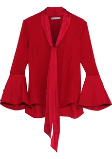 Alice + Olivia Woman Meredith Tie-neck Satin-trimmed Silk Blouse Red