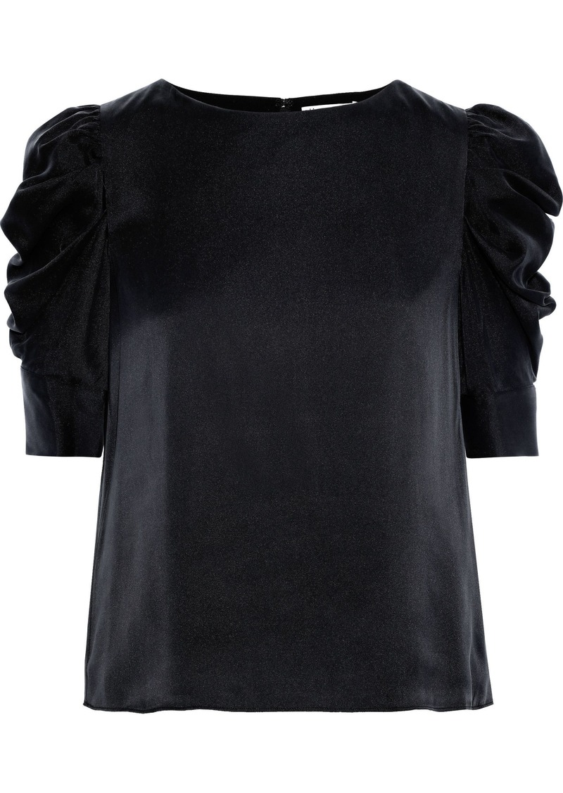 Alice + Olivia Woman Merida Gathered Silk-blend Satin Blouse Black