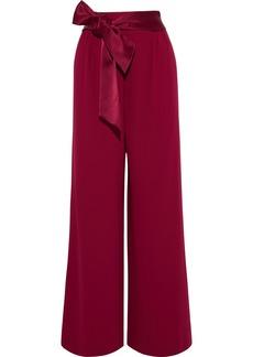 Alice + Olivia Woman Merna Satin-trimmed Crepe Wide-leg Pants Claret