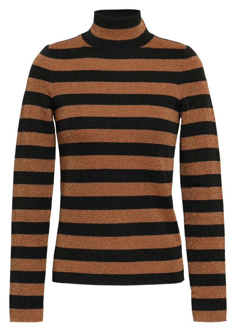 Alice + Olivia Woman Metallic Striped Wool-blend Turtleneck Sweater Bronze