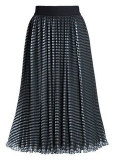 Alice + Olivia Woman Mikaela Checked Plissé-chiffon Midi Skirt Black