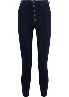 Alice + Olivia Woman Mikah Stretch-suede Skinny Pants Navy