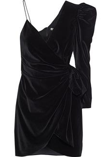 Alice + Olivia Woman Mila Asymmetric Wrap-effect Velvet Mini Dress Black
