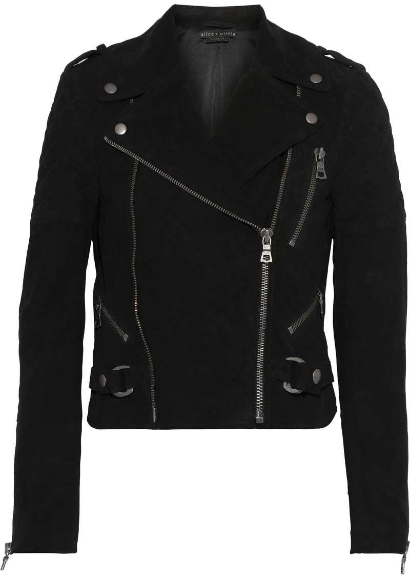 Alice + Olivia Woman Miles Stretch Knit-paneled Quilted Suede Biker Jacket Black