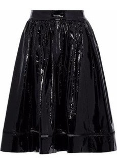 Alice + Olivia Woman Misty Flared Patent-leather Skirt Black