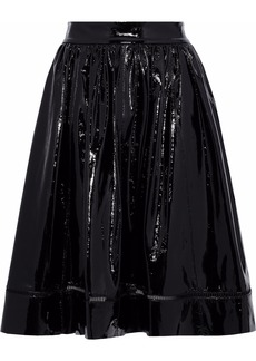 Alice + Olivia Woman Misty Flared Patent-leather Skirt Black