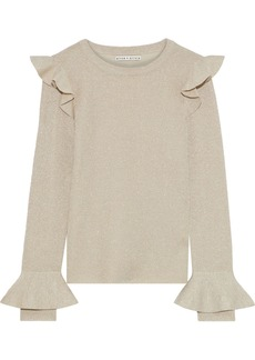 Alice + Olivia Woman Mittie Ruffle-trimmed Metallic Wool-blend Sweater Beige