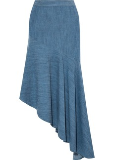 Alice + Olivia Woman Molina Asymmetric Chambray Midi Skirt Mid Denim