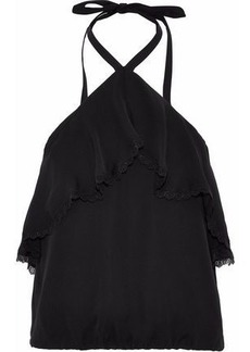 Alice + Olivia Woman Monet Ruffled Silk Halterneck Top Black