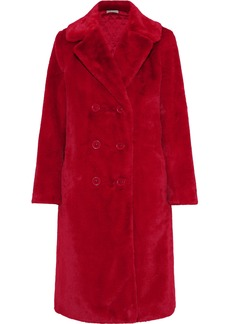 Alice + Olivia Woman Montana Double-breasted Faux Fur Coat Red