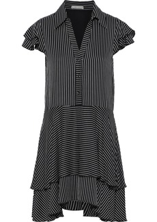 Alice + Olivia Woman Moore Layered Striped Crepe De Chine Mini Dress Black
