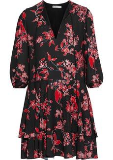 Alice + Olivia Woman Moore Tiered Floral-print Crepe De Chine Mini Dress Black
