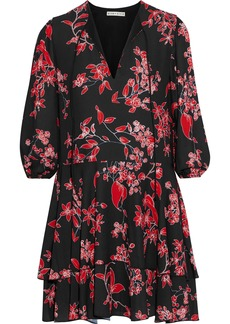 Alice + Olivia Woman Moore Tiered Floral-print Crepe De Chine Mini Dress Black