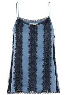 Alice + Olivia Woman Moran Lace-paneled Silk Camisole Azure