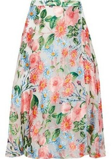 Alice + Olivia Woman Nanette Wrap-effect Floral-print Burnout Organza Midi Skirt Multicolor