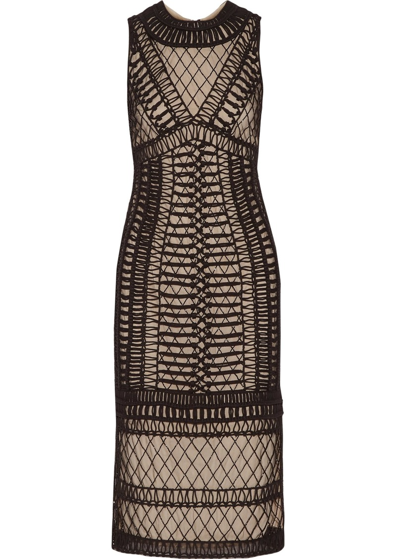 Alice + Olivia Woman Nat Beaded Macramé And Tulle Midi Dress Black