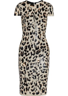 Alice + Olivia Woman Nat Sequined Mesh Dress Animal Print