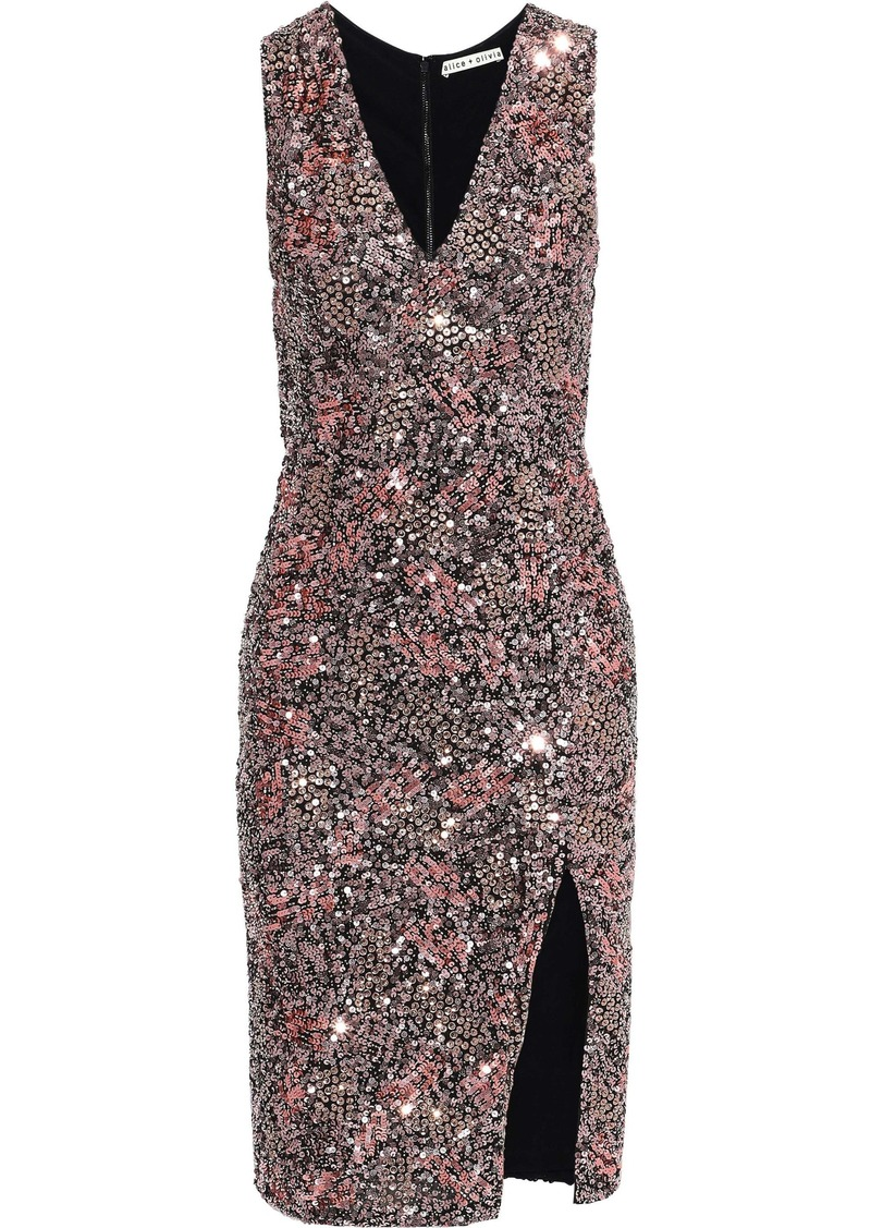 Alice + Olivia Woman Natalie Sequined Mesh Dress Rose Gold