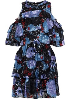 Alice + Olivia Woman Nichola Cold-shoulder Printed Fil Coupé Silk-blend Mini Dress Multicolor