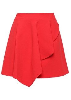 Alice + Olivia Woman Nicky Asymmetric Draped Crepe Mini Skirt Tomato Red