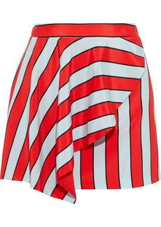 Alice + Olivia Woman Nicky Draped Striped Silk Crepe De Chine Mini Skirt Tomato Red