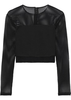 Alice + Olivia Woman Nikki Cropped Cady-paneled Mesh Top Black