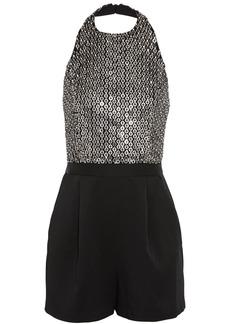Alice + Olivia Woman Nisha Embellished Tulle And Satin-crepe Halterneck Playsuit Black