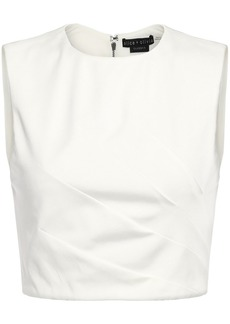 Alice + Olivia Woman Olive Cropped Pleated Ponte Top White