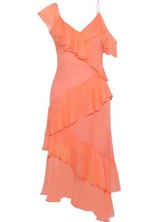 Alice + Olivia Woman Olympia Asymmetric Ruffled Silk-georgette Midi Dress Peach