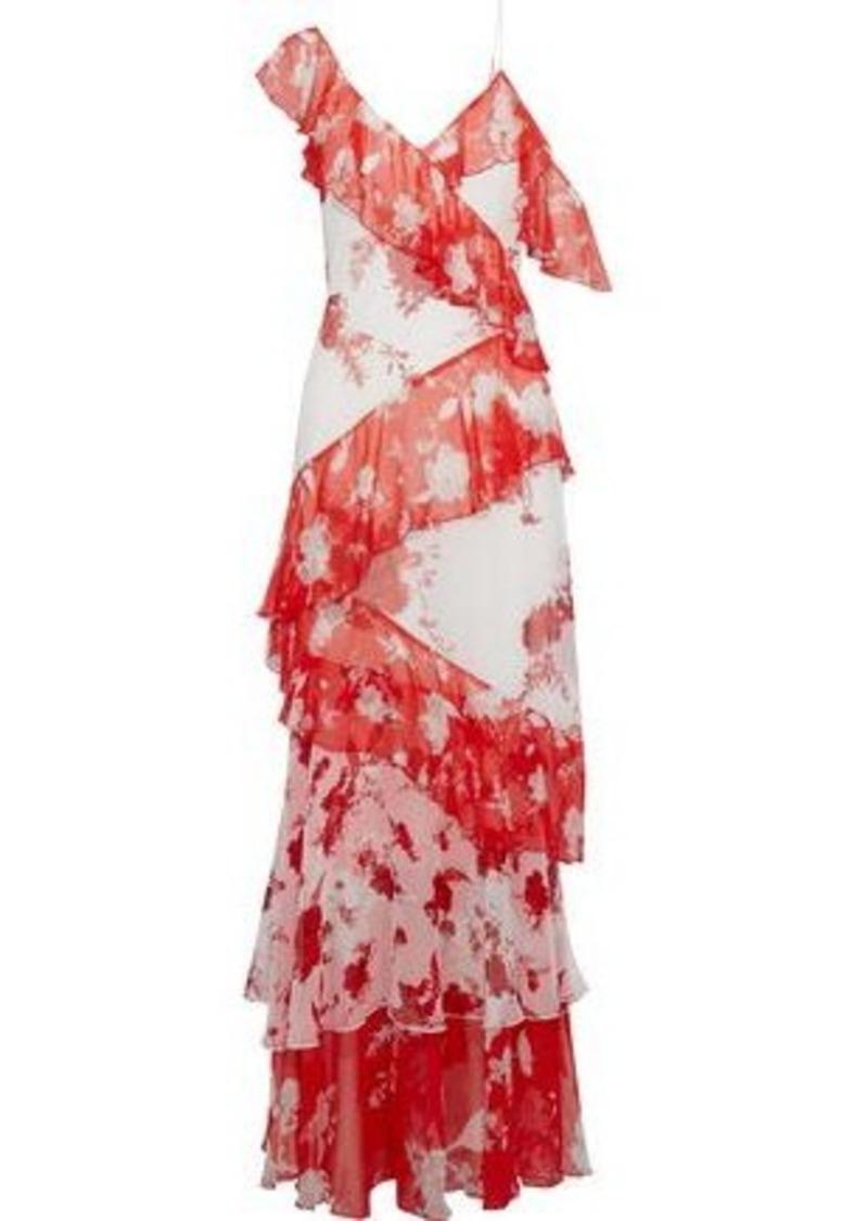 Alice + Olivia Woman Olympia Tiered Floral-print Chiffon Maxi Dress Red