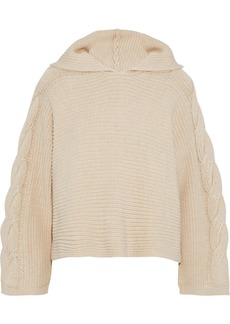 Alice + Olivia Woman Oversized Cable-knit Hooded Sweater Beige