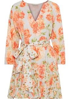 Alice + Olivia Woman Pali Pleated Floral-print Cotton Mini Dress Bright Orange
