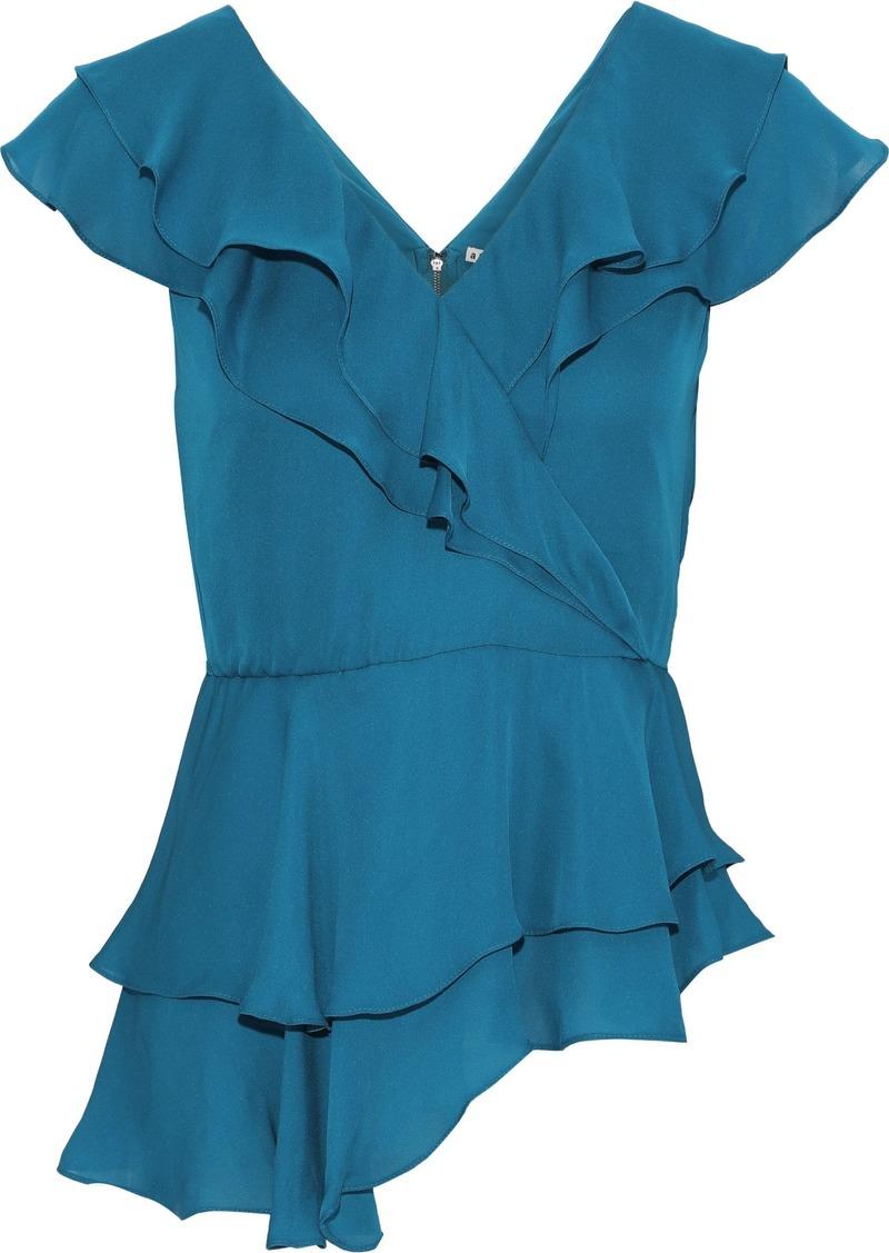 Alice + Olivia Woman Pandora Wrap-effect Ruffled Silk-chiffon Blouse Turquoise