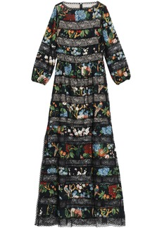 Alice + Olivia Woman Paneled Floral-print Crepe De Chine And Lace Maxi Dress Black
