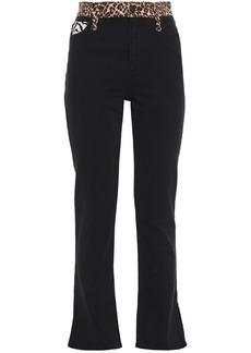Alice + Olivia Woman Paneled Printed High-rise Flared Jeans Black